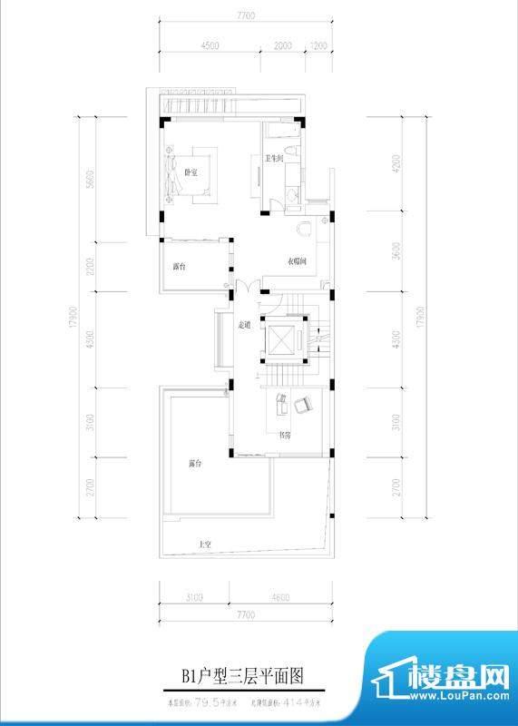 尚东紫御B1户型三层面积:79.50平米