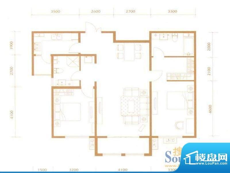宏大观园2B户型 2室面积:116.00m平米