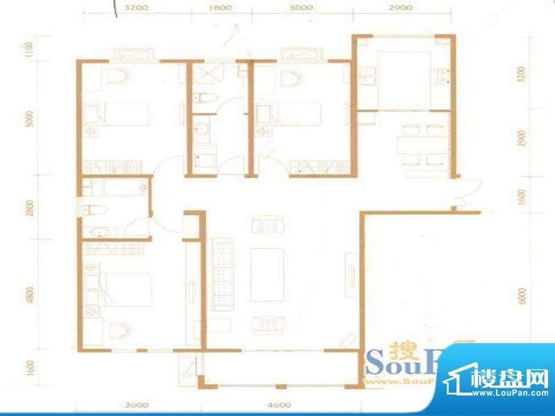 宏大观园2A户型 3室面积:147.00m平米