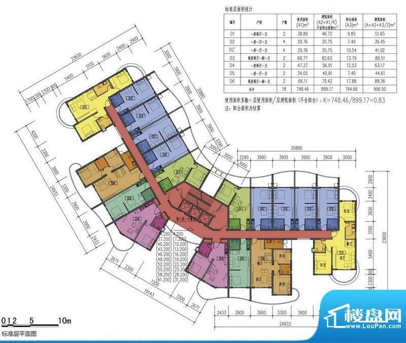 龙沐湾美好海岸15#楼面积:899.17平米