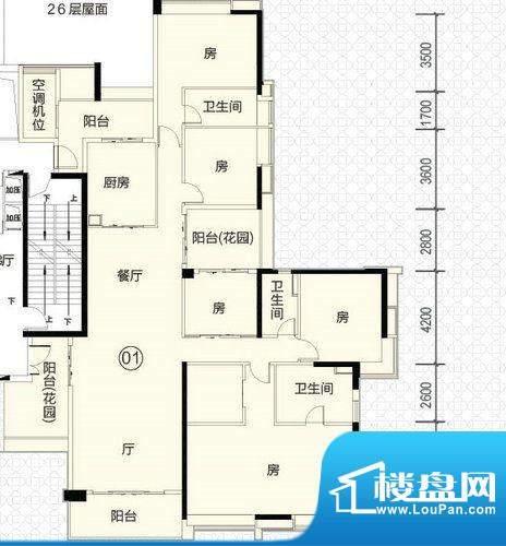 富力君湖华庭T1栋26面积:261.00平米
