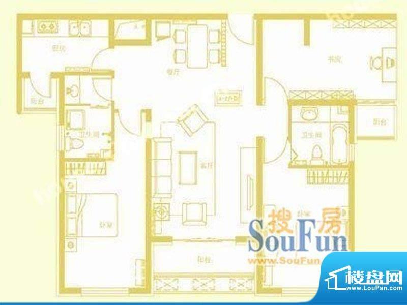 园丁小区A-2户型三室面积:137.75m平米