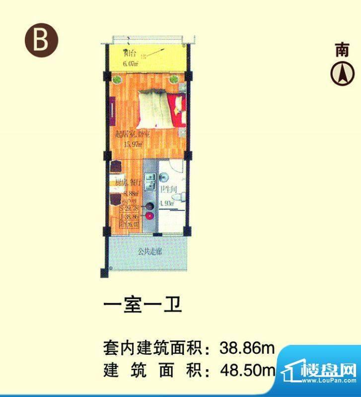 龙池湾花园B户型 1室面积:48.50平米