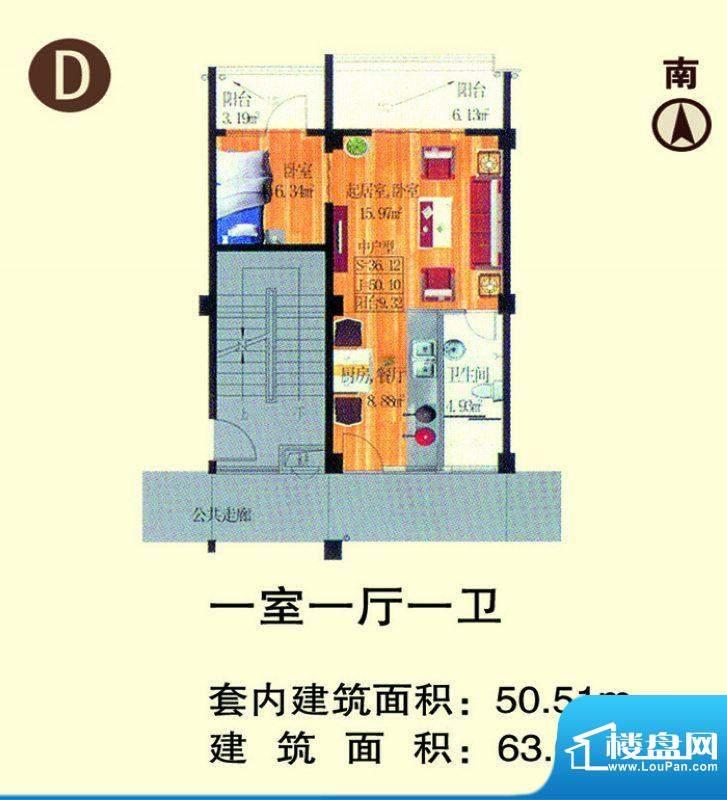 龙池湾花园D户型 1室面积:63.04平米