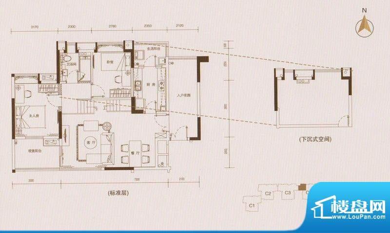 星品C4栋01单元单数面积:94.00平米