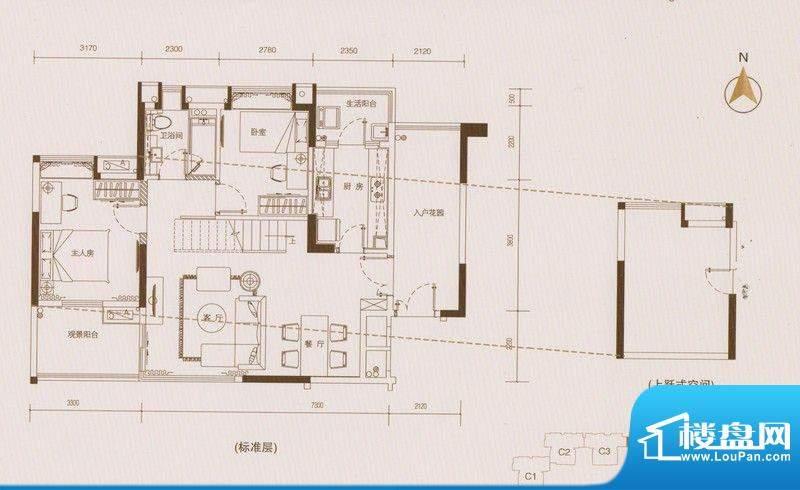 星品C4栋01单元双数面积:94.00平米