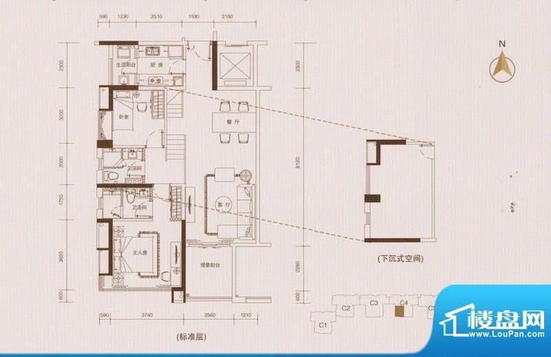 星品C4栋02单元单数面积:102.00平米