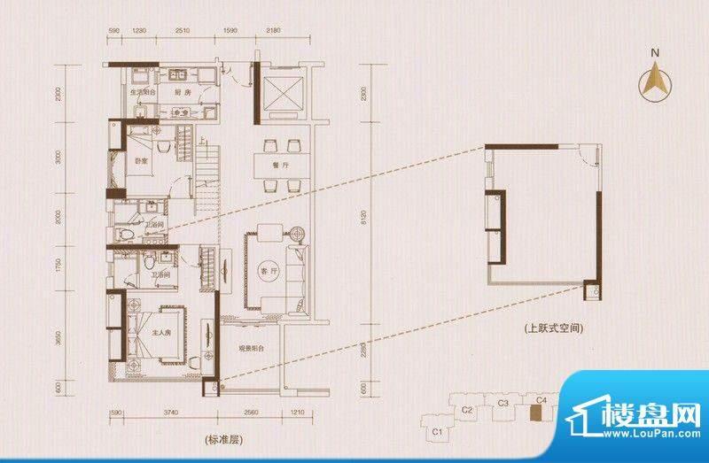 星品C4栋02单元双数面积:102.00平米