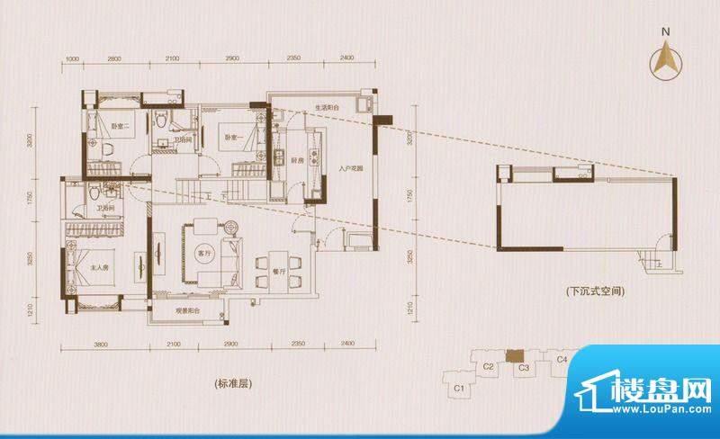 星品C3栋01单位单数面积:112.00平米