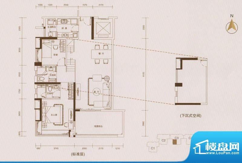 星品C3栋02单位单数面积:110.00平米