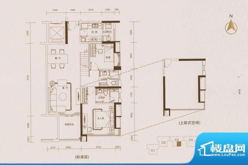 星品C3栋03单位双数面积:102.00平米