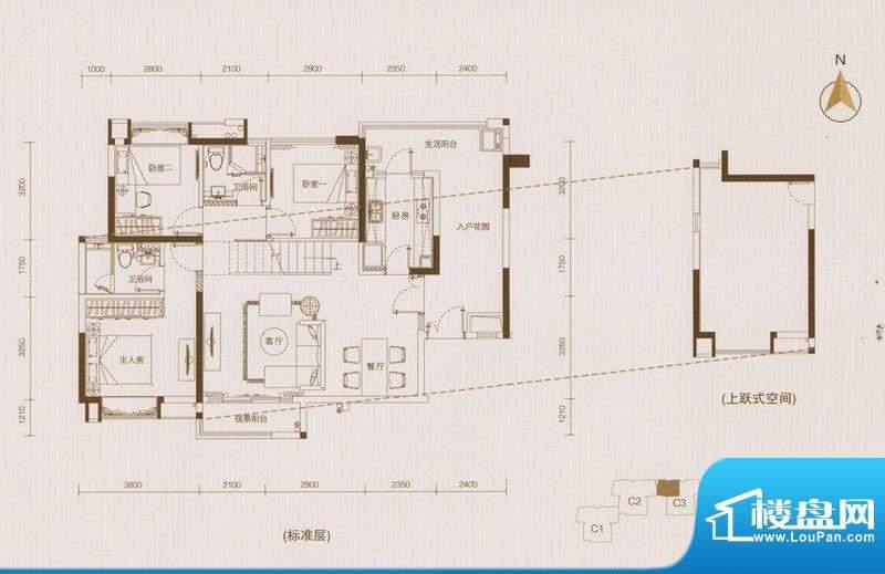 星品C3栋01单位双数面积:112.00平米