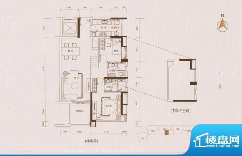 星品C3栋03单位单数面积:102.00平米