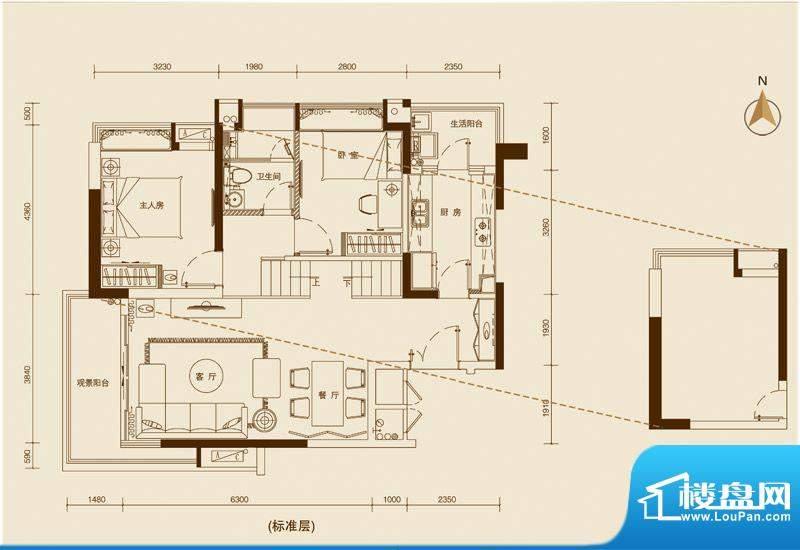 星品201单位 2室2厅面积:90.00平米