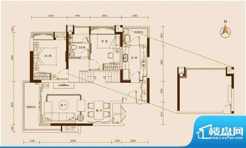 星品301单位 2室2厅面积:90.00平米