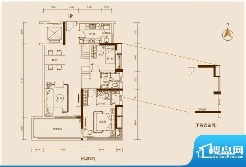 星品303单位 2室2厅面积:109.00平米