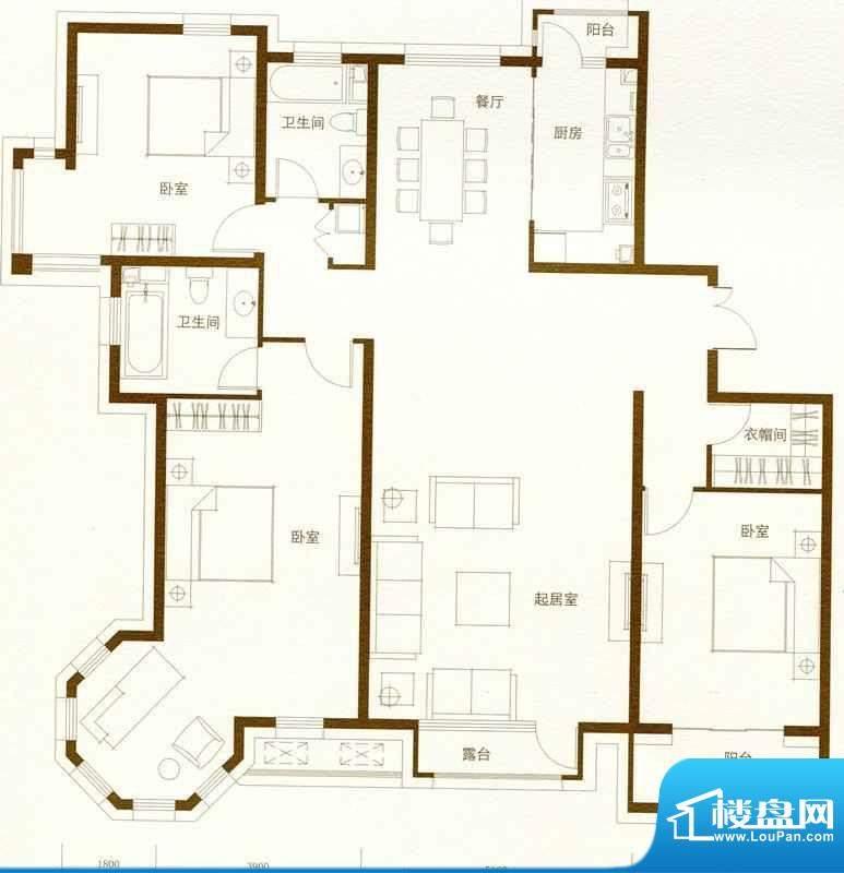 豪景公馆C3户型图 3面积:201.98m平米