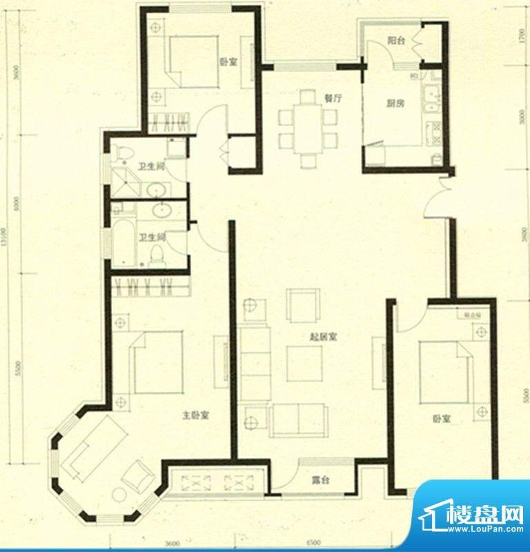 豪景公馆C1边户型 3面积:162.12m平米