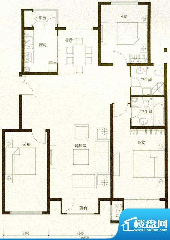 豪景公馆C1户型 3室面积:156.17m平米
