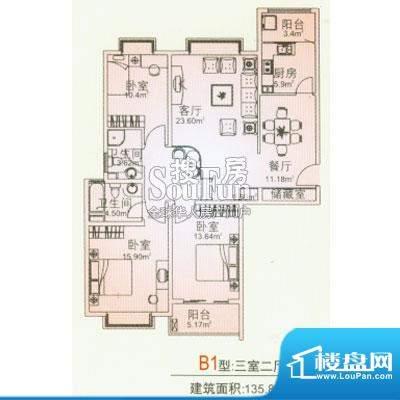 昊龙花园 B1户型图面积:135.00平米