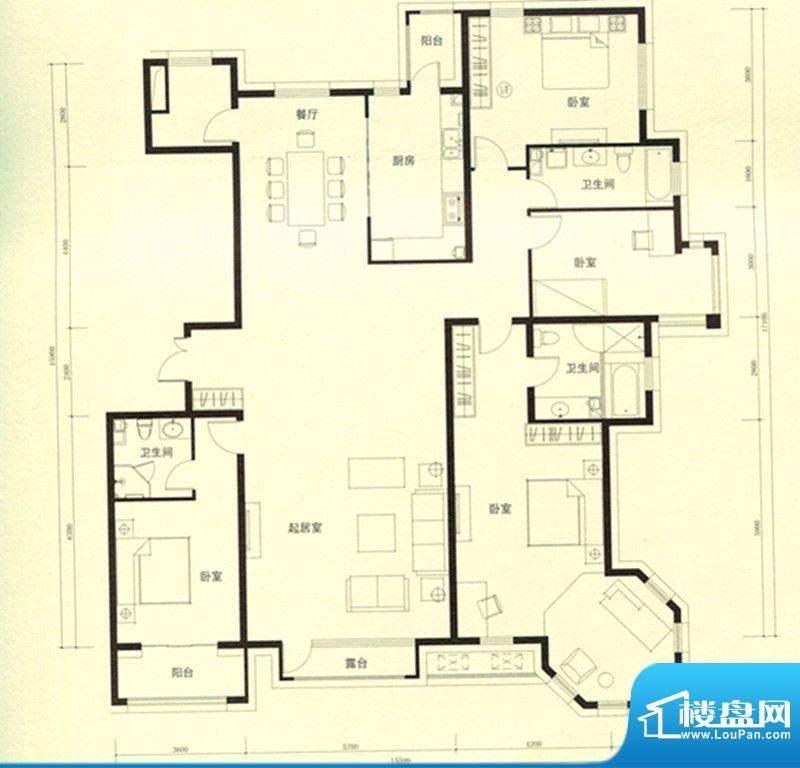 豪景公馆D1户型 4室面积:271.45m平米