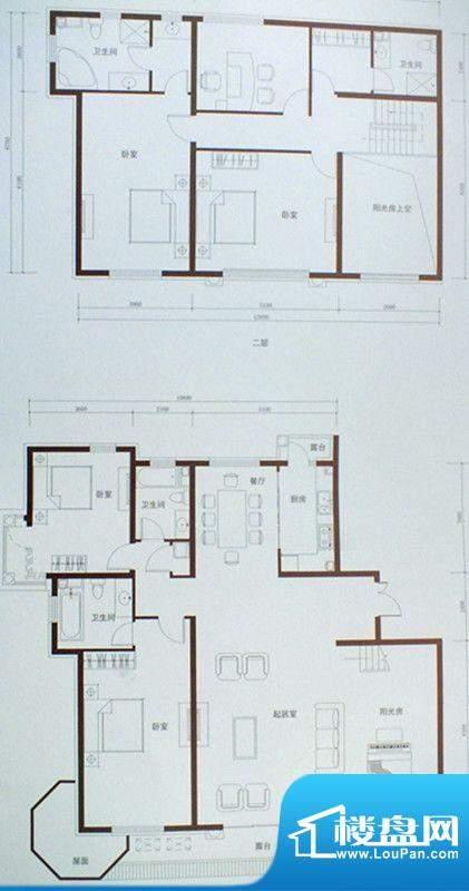 豪景公馆户型图1 5室面积:300.99m平米