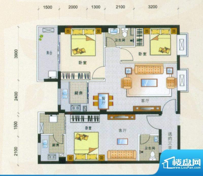 新香缇假日01-04号房面积:105.72平米