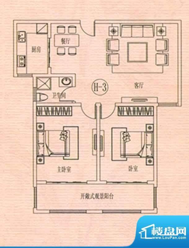 万佳裕园户型图1 2室面积:109.29m平米