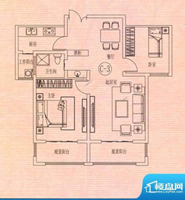 万佳裕园户型图3 2室面积:88.49m平米
