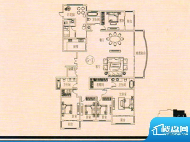 万佳裕园户型图3 5室面积:308.40m平米
