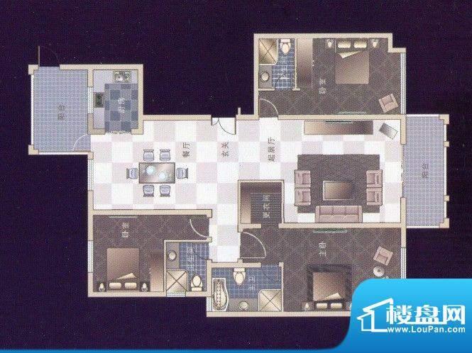 龙湾A-1三室两厅两卫面积:178.46m平米