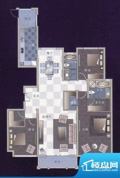 龙湾B2-2三室两厅两面积:178.02m平米