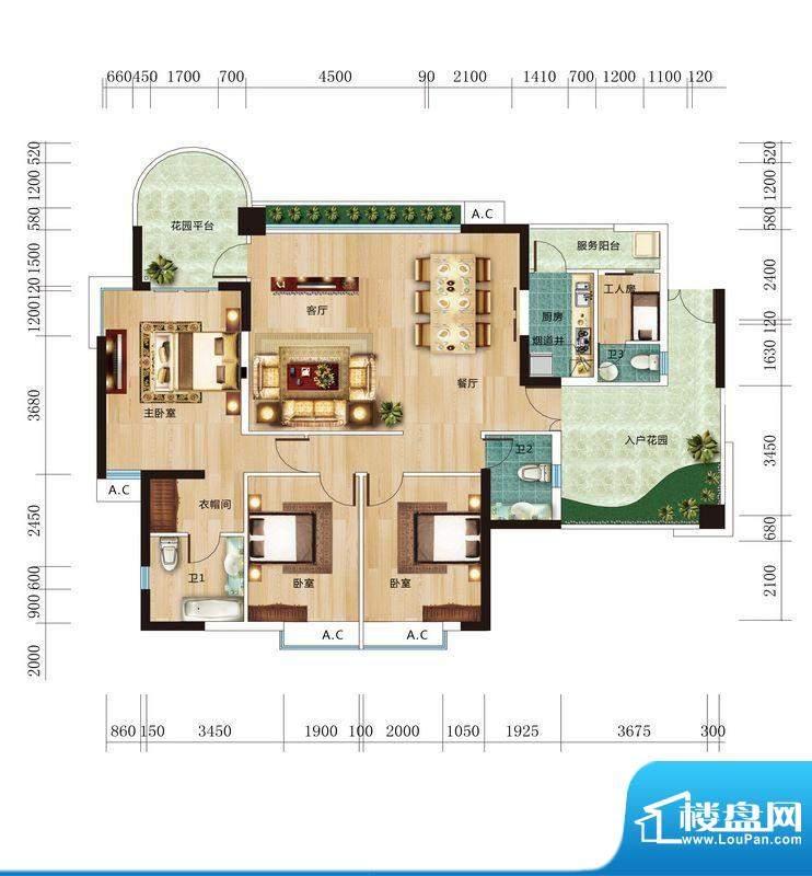 丽晶维港B1户型图 3面积:153.81平米