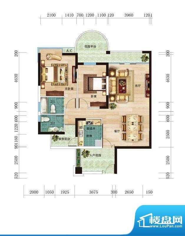 丽晶维港B2户型图 2面积:118.45平米