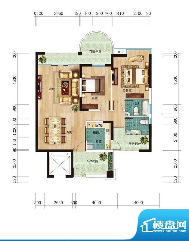 丽晶维港B3户型图 2面积:119.49平米