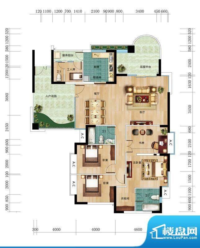 丽晶维港B4户型图 5面积:190.61平米
