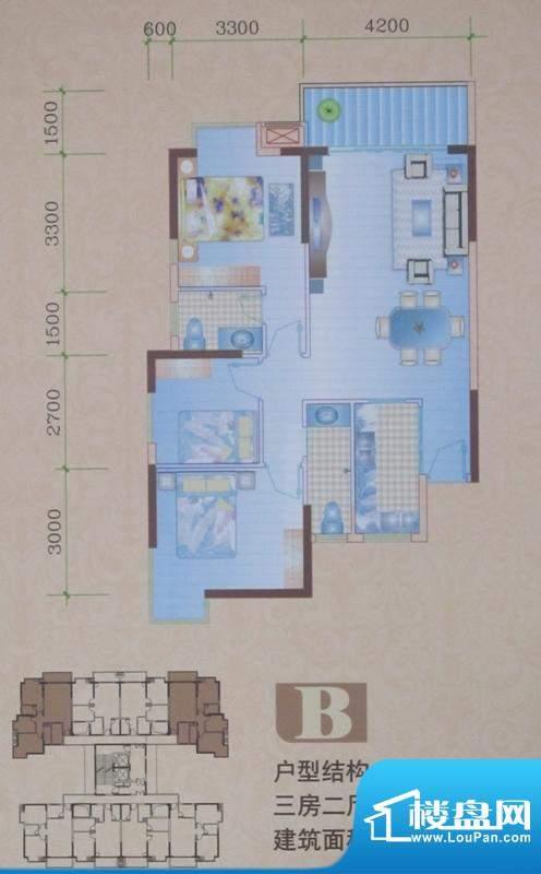 盛泰花园B户型图 3室面积:95.83平米
