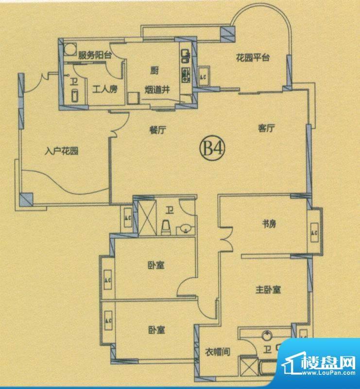 丽晶维港B4户型图 5面积:189.00平米