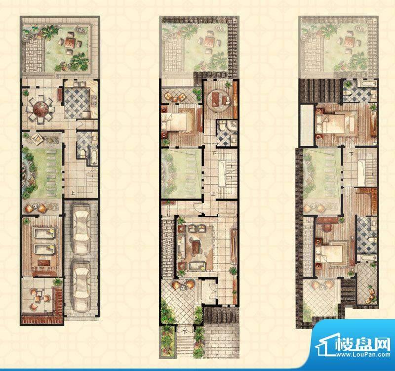 和沁园联排b户型 3室面积:308.00平米