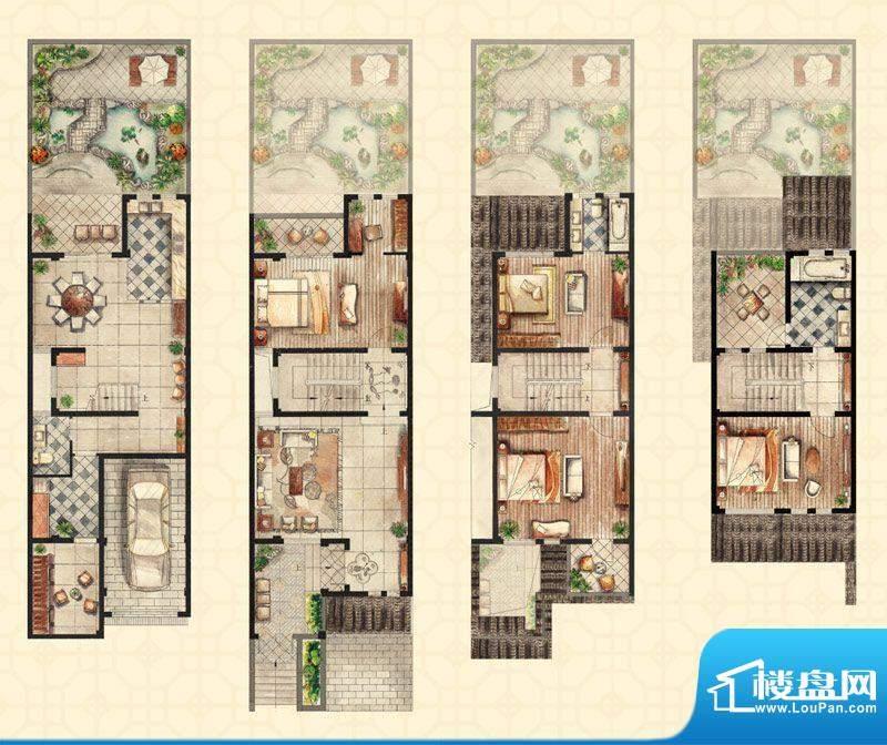 和沁园联排a户型 5室面积:266.00平米