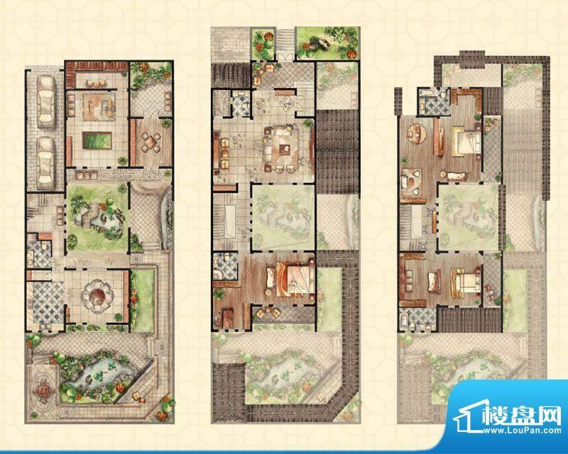 和沁园联排c户型 4室面积:475.00平米