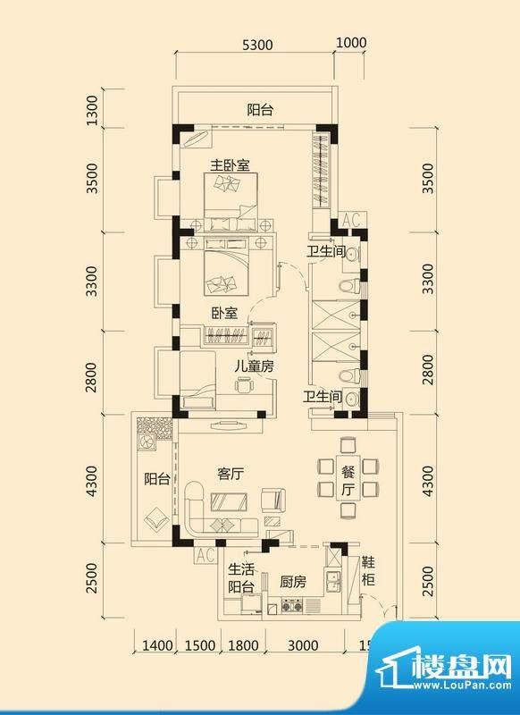 皇冠世纪豪门世纪府面积:133.98平米