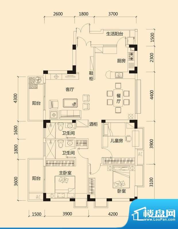皇冠世纪豪门世纪府面积:140.21平米