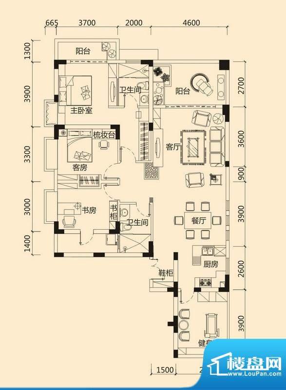 皇冠世纪豪门豪门府面积:156.74平米
