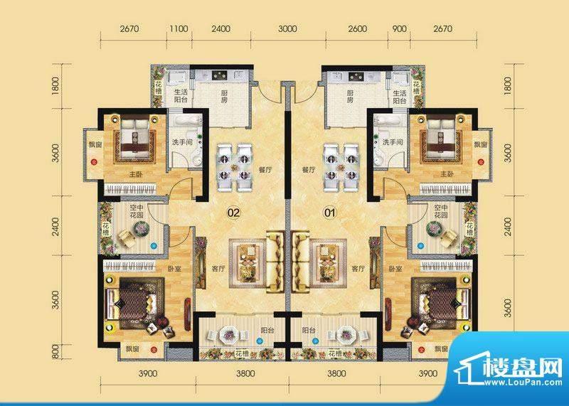 正大豪庭3#楼户型图面积:92.92平米