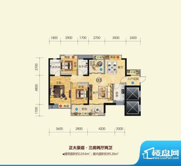 正大豪庭5号楼03户型面积:119.60平米
