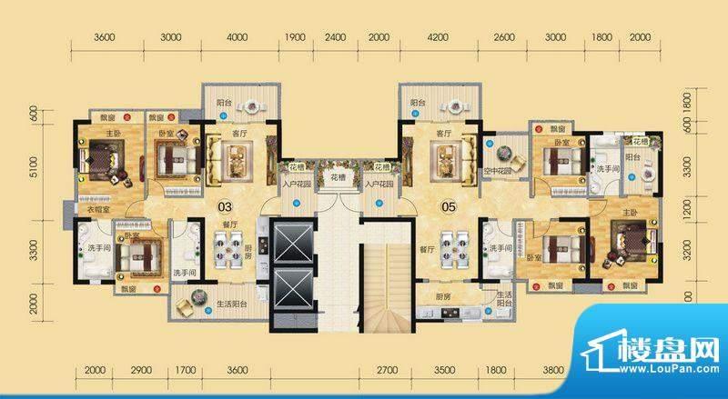 正大豪庭3#楼户型图面积:138.06平米