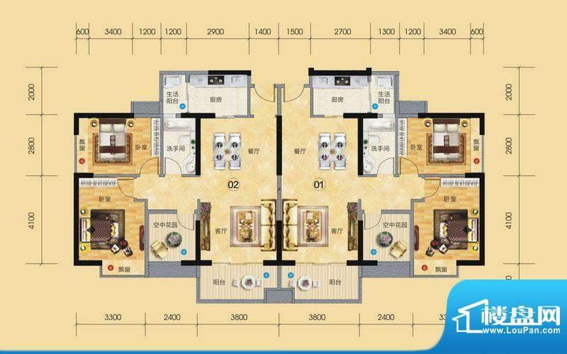 正大豪庭3#楼户型图面积:89.08平米