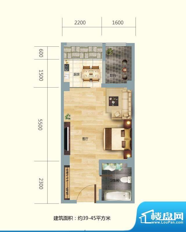 正大豪庭1#B户型图 面积:45.00平米