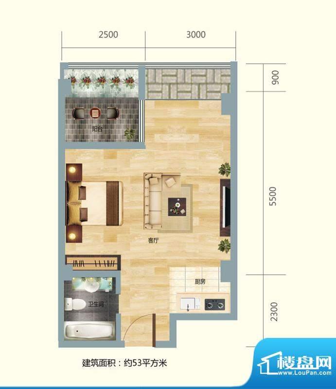 正大豪庭1#D户型图 面积:53.00平米